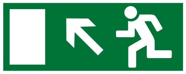 Самоклеящаяся разметочная фотолюминесцентная лента «Выход налево вверх» (132015) цена