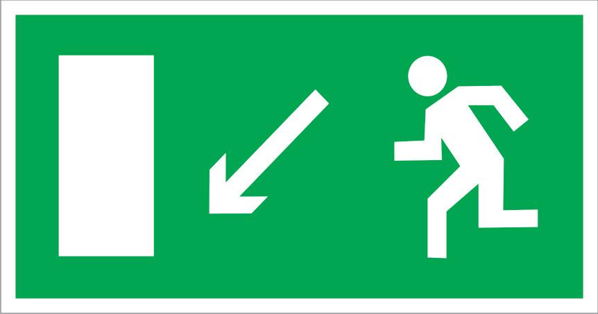 Самоклеящаяся разметочная фотолюминесцентная лента «Выход вниз налево» цена